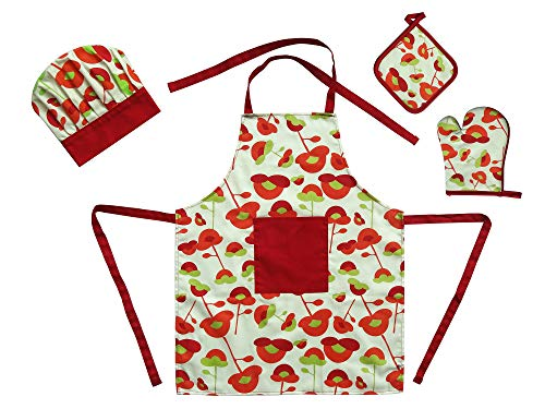 Firstall Red Flower Complete Kids Cooking and Baking Set - 4 Pcs Includes Apron for Kids, Chef Hat, Mitt & Potholder Play for 3 Year Old Kids and Up.