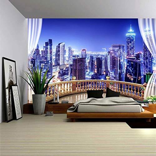 WERT Impresión 3D Ciudad Paisaje Tapiz Tapiz Colgante de Pared Arte de la Pared Dormitorio Ventana Jerry Tapiz Decorativo de Pared Fondo A1 73x95cm