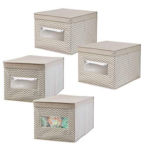 mDesign Juego de 4 cajas organizadoras para el cuarto de los niños - Organizadores para armarios con diseño de espiga - Caja para organizar juguetes, pañales o artículos de bebé - topo/natural