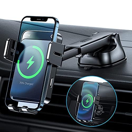LYNXER 15W Fast Wireless Charger Auto Handyhalterung Mit Ladefunktion Automatischer Induktion Motor Betrieb Qi Ladestation Auto Handyhalterung Lüftung & Saugnapf für iPhone Samsung Huawei LG usw