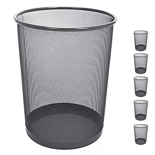 Smart Design Steel Metal Mesh Waste Basket - Garbage, Paper Clutter, Trash Can Bin - Easy to Clean Design - Home & Office (11.75 x 13.75 Inch) [Gunmetal] - Set of 6