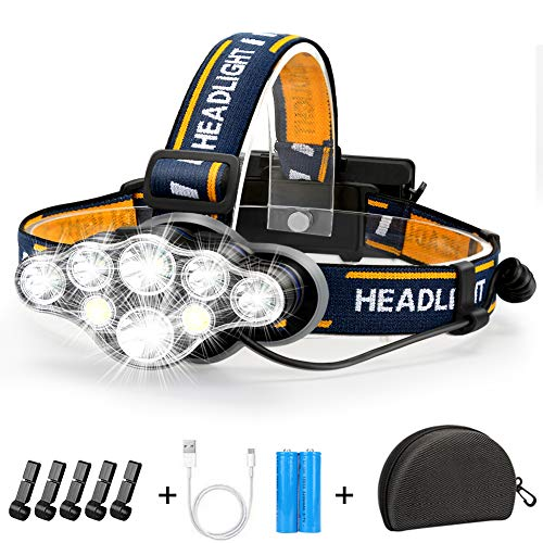 Rechargeable Headlamp, 8 LED Headlamp Flashlight 18000 Lumen 8 Modes with White Red Lights USB Cable 2 Batteries, Waterproof Head Lamp for Outdoor Camping Cycling Running Fishing