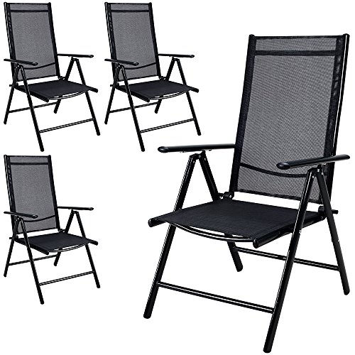 Deuba 4x Garden Dining Chair Bern Folding Chairs Set Aluminum Recliner Outdoor Patio Silver or Anthracite