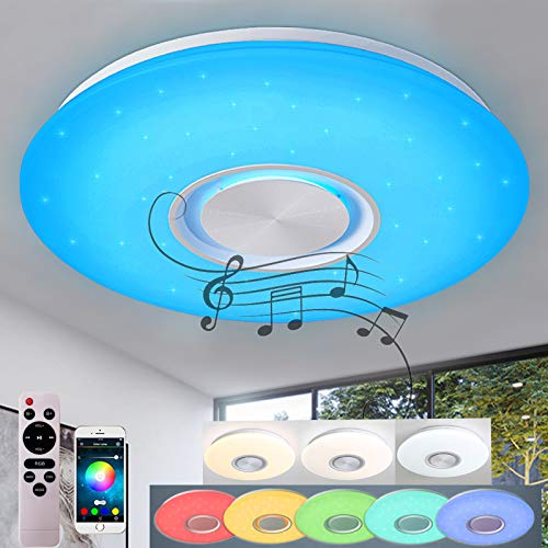 24W Bluetooth Deckenleuchte RGB LED Deckenlampe mit Lautsprecher APP-Steuerung/Fernbedienung (40 * 40 * 5,5cm)