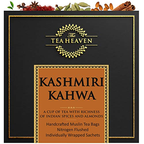 The Tea Heaven 30 Muslin Tea Bags (2 Free Samples) Kashmiri Kahwa Blended with Almonds Saffron Spices- 100 % Natural Ingredients