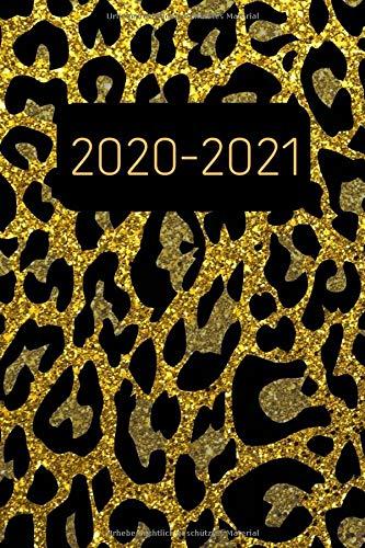 Terminplaner 2020 2021: Leopard Glitzer Kalender und Terminkalender 2020 2021 - Monatsplaner und Wochenplaner | Januar 2020 bis Dezember 2021 | 2 Jahre Gold Din A5