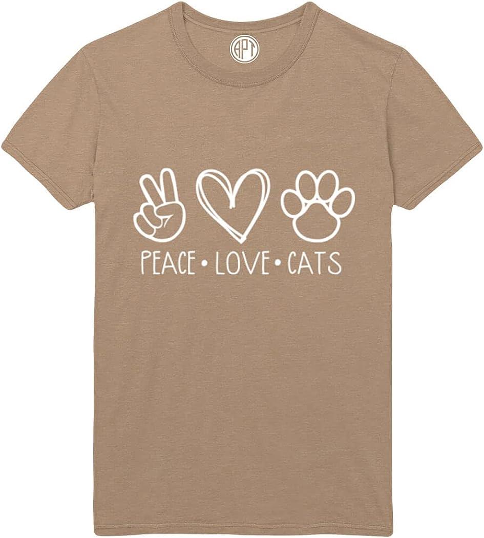 Peace, Love, Cats Printed T-Shirt
