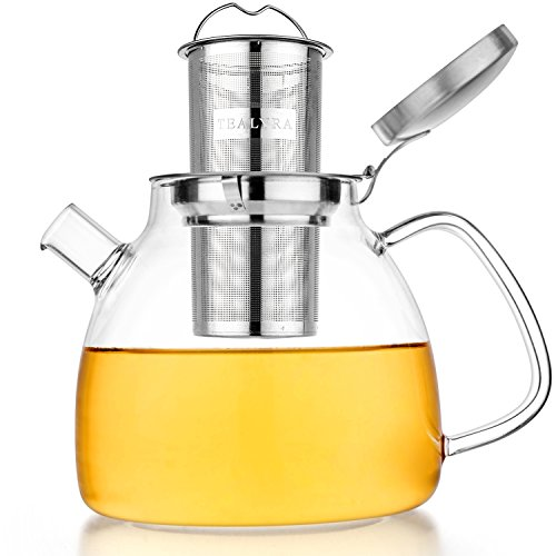 Tealyra - 37-ounce LYRA TEAPOT - Stove-Top Safe - Large Borosilicate Glass Teapot - Kettle - w/Removable Stainless-Steel Infuser - Best For Loose Leaf and Blooming Tea - 1100ml - Makes 4-5 cups
