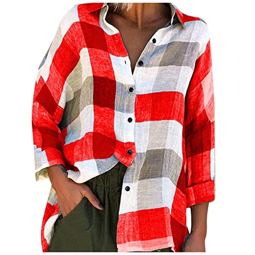 Bylater Women's Plaid Shirts Long Sleeve Button Down Shirt Casual Plus Size Splicing Color Blouse(5XL.Red)