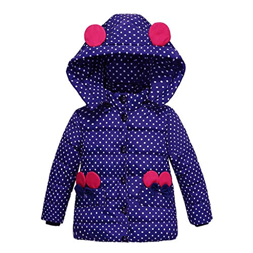 HUHU833 Baby-Kapuzen Mantel, Mode Kinder Mantel Baby Mädchen Dicke Mantel Daunenjacke Gepolsterte Dot Bowknot Winter Jacke Kleidung (Dunkel blau, 12M-24M)