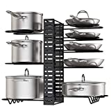 Pot Rack Organizer for Cabinet and Countertop, Metal Pot Rack for Kitchen, Height and Position Adjustable for 8+ Pots, Cabinet Pantry Pot Lid Holder in Black, 3 DIY Methods (Black, Upgraded)