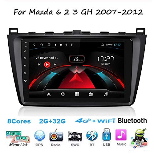 Für Mazda 6 2 3 GH 2007-2012 Navi Doppel Din Auto Stereo Radio GPS Navigation 9 Zoll Touchscreen Head Unit Multimedia Player Videoempfänger WiFi BT