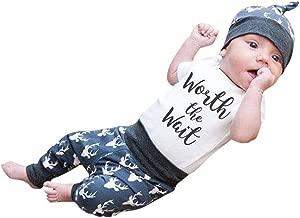3Piece Infants Baby Kids Boys Outfits Set,Short Sleeve Letter Print Romper Cartoon Deer Pattern Pants Hat