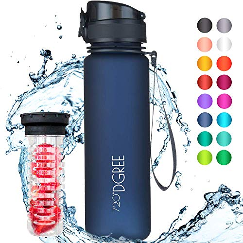 "720°DGREE ""uberBottle""   Leakproof Water Bottle 500ml, 0.5 litre   Yoga, Sports, Hiking, Biking, Travelling   Blue"