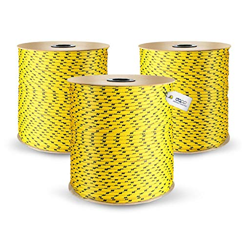 DQ-PP POLYPROPYLENSEIL | 3mm | 100m | GELB Polypropylen Seil | Tauwerk PP Flechtleine Textilseil Reepschnur Leine Schnur Festmacher Rope Kordel Kunststoffseil Kletterseil geflochten