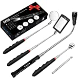 Preciva 5PCS Magnetic Telescoping Pick-up Tool Kit with 15lb/1lb Pick Up Rod, Round/Square 360 Swivel Adjustable Inspection Mirror and Telescoping Flexible 3 LED Flashlight