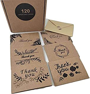 120 Kraft Thank You Cards with Envelopes - 6 Designs Kraft Paper, 4 x 6 inches - Box Set - For Any Occasion, Bulk Thank You Cards Assortment, Wedding, Birthday