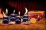 Feuerzangentasse 4er-Set, Blau, mit Rum - für Feuerzangenbowle