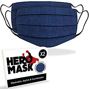 Hero Mask Pack of 2 Denim Reusable Face Mask UK from 3 Layers of Blended Cotton   Reusable Denim Face Mask   Made in London   Wash Over 100 Times and Keeps The Same Quality from Hero Mask