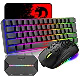 4 in 1 Wireless Gaming Keyboard Mouse and Converter with RGB Backlit Mini 61Key Ergonomic Honeycomb Shell 2.4Ghz USB Receiver Bluetooth Wired Adapter for PS4 PS3 Xbox Switch PC Mac Gamer Typist(Black)