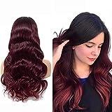PerüCke Rot 4x4 Lace Closure Wigs Human Hair Ombre Body Wave Wig Echthaar PerüCke Wig Brasilianisches Echthaar PerüCke Wave Pre Plucked Closure Wigs Human Hair 20 Zoll NIUDINNG Human Hair