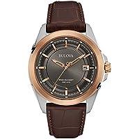 Bulova 98B267 Precisionist Grey Dial Brown Leather Strap Men's Watch