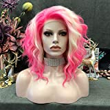 Imstyle Pink Blonde Lace Front Wigs Short Bob Wavy Wigs 2 Tone Neon Color Synthetic Hair Wig Free Part with Natural Hairline Shoulder Length for Women (Pink)