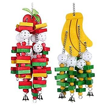JVSISM Oiseau Bois à Macher Jouet 2 PièCes Banane Pomme Perroquet Gateau à Macher Jouet Grand Moyen Ara Ara Jouet D'Oiseau