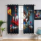 ZhiHdecor Super mario odyssey - Panel de cortina (253 x 213 cm), aislamiento térmico, 1 par