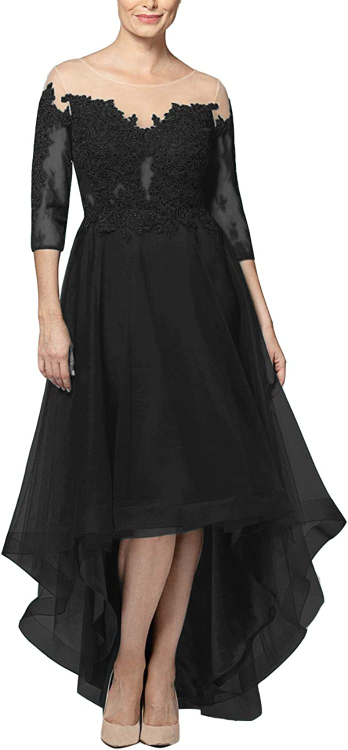 High Low Mother of The Bride Dresses Lace Appliques Prom Evening Gowns Short Sleeves Formal Dress