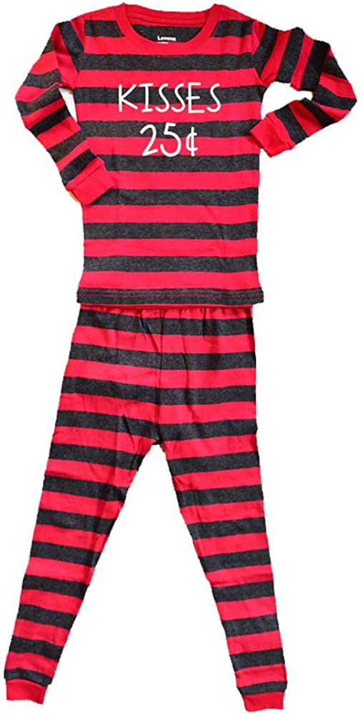 Kisses 25 Cents Pajamas Boy or Girl Kids Cousin Sibling Matching PJs Valentine's Day Baby Sleeper Toddler