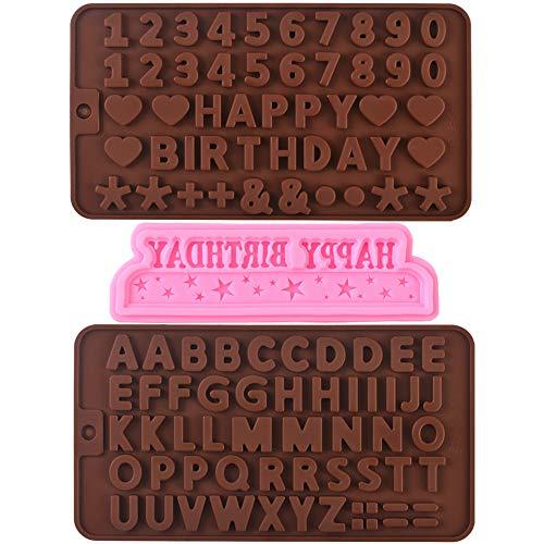 Cozihom Silikonform für Buchstaben, Zahlen und Happy Birthday-Symbole, für Schokolade und Kuchendekorationen, 3 Packungen