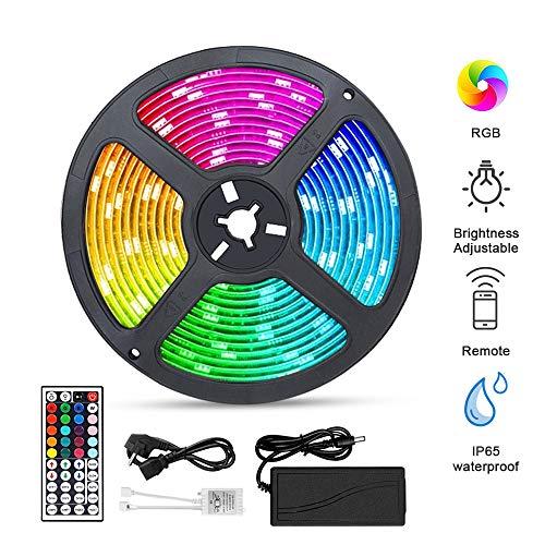 LED Streifen Solawill 300 LED Strips 5M mit Fernbedienung LED Lichtband Wasserdicht Hell 5050 RGB Farbwechsel Dimmbar LED Bänder Selbstklebend mit 44 Tasten Fernbedienung und Netzteil