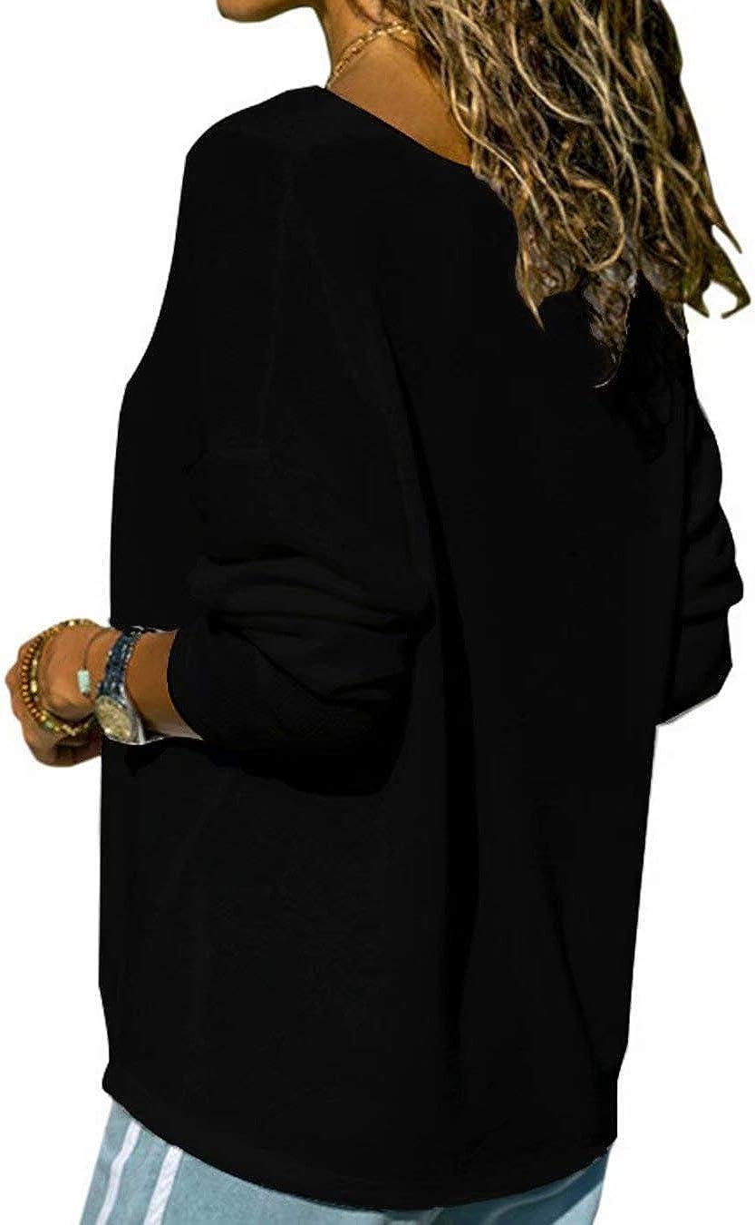 Hiistandd Damen Shirt V-Ausschnitt Tops Casual Langarmshirt Gestrickt Einfarbig Oberteile