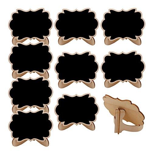 SUPVOX 10pcs Marque Place Mariage Anniversaire Mini Tableau Noir en Bois avec Support Décoration de Noce (Nuage, Noir)