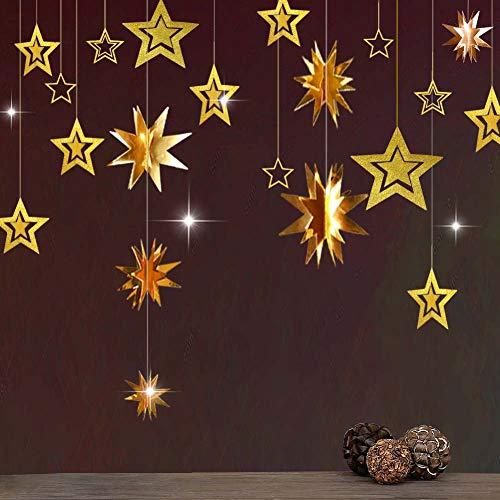 Decor365 Gold Twinkle Star Party Decoration Kit Metallic Glitter 3D Hanging Star Bunting Garland Twinkle Little Star Decor Nursery Kids Room Birthday Wedding Baby Shower Christmas Graduation Ramadan