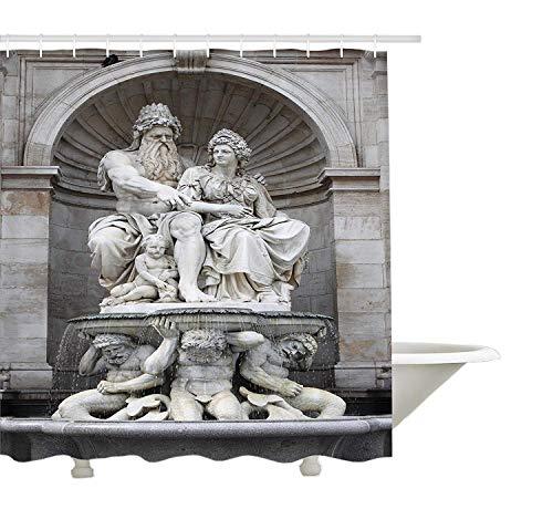 Yeuss Sculptures Decor Collection,Franz Josef I. Statue Touristenattraktion Historisches Wahrzeichen Jahrh&ertalte Kunstwerke in Wien,Duschvorhang aus Polyestergewebe,Elfenbein