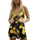 Simple-Fashion Estivo Donna Moda Giarrettiere Senza Schienale Pantaloncini Tutine Intere Jumpsuits da Spiaggia Vita Alta Sexy V Collo Bandage Stampa Monopezzi a Righe Pagliaccetti