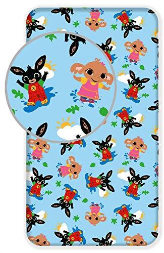 Little Flight Bing Conejo - Sábanas de algodón con esquinas para cuna, tamaño cama (90 x 200 cm)