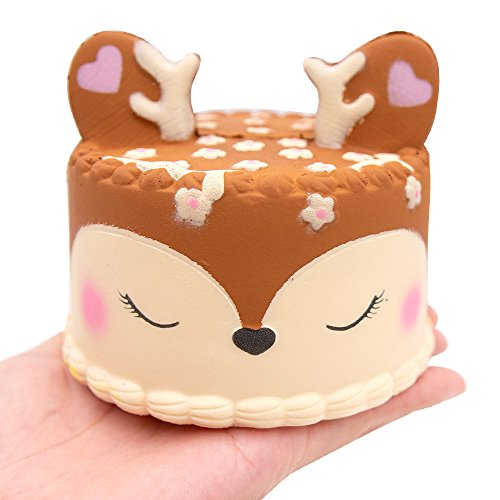 MMTX Lento Levantamiento Squishies Juguetes, Super Soft Cut Squeeze Toys Kawaii Venado Cake Cream Perfume Squishy Jumbo Stress Relief Descompresión de Regalo para niñas Niños (Deer Cake)