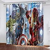 Fgolphd Marvel Avengers - Juego de cortinas opacas para dormitorio con impresión 3D del Capitán América Iron Man para habitación de los niños, decoración del salón (150 x 166 (ancho x alto), 21)