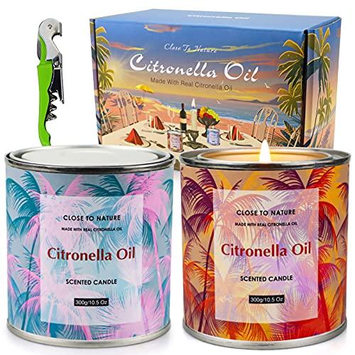 Velas de citronela blissbath, paquete de 2 velas de citronela para exteriores de 10.5 oz, velas de citronela para jardín, cera de soja natural con aceites de citronela para camping / picnic / regalos