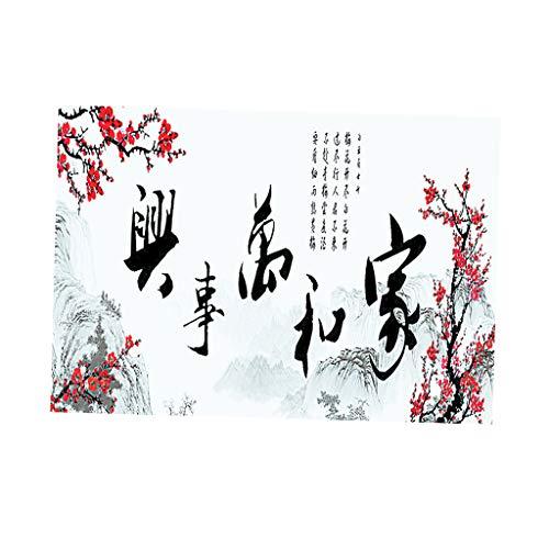 non-brand Sharplace Aquarium Autocollant de Poisson 3D HD Style Chinois Fond Affiche pour Décoration Murale - L