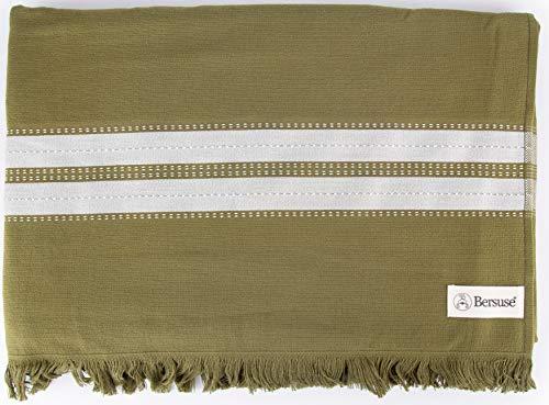 Bersuse Cascais - Toalla turca (100% algodón, 90 x 170 cm, 6 unidades), color caqui