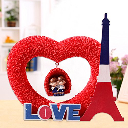 Europe, Creative Home Résine Crafts Belle et Charmante cadeaux Amour Couples en forme de coeur Ornements