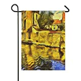 ALARGE Gartenflagge Aquarell Brugge Kanal Baukunst doppelseitig vertikal Banner Flaggen für Party, Urlaub, Hof, Heimdekoration, 30,5 x 45,7 cm, Multi, 12x18 inches
