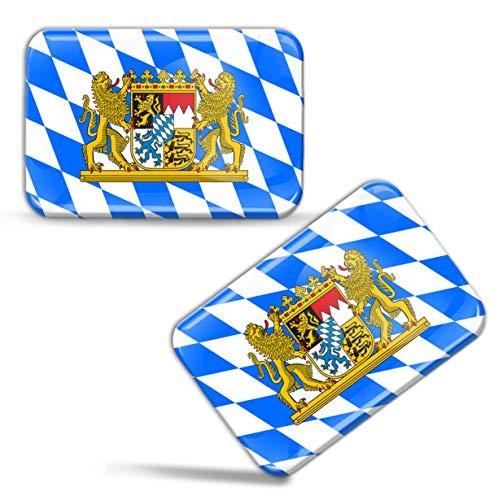 Biomar Labs® 2 x Aufkleber 3D Gel Silikon Stickers Bayern Bavaria Flagge Fahne Flag Länderflagge Auto Motorrad Fahrrad Fenster Tür PC Handy Tablet Laptop F 69