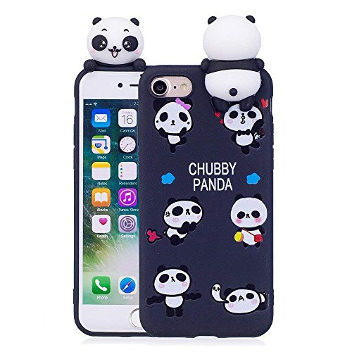 LAPOPNUT Case for iPhone 6 iPhone 6S Case Soft Back Cover 3D Cartoon Panda Candy Colour Girly Bear Design Slim Flexible Protective Case Cover Bumper for Girls, Black