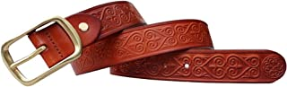Men's Leather Belt with Square Buckle Suitable For All Occasions (Color : Brown, Size : 100cm)