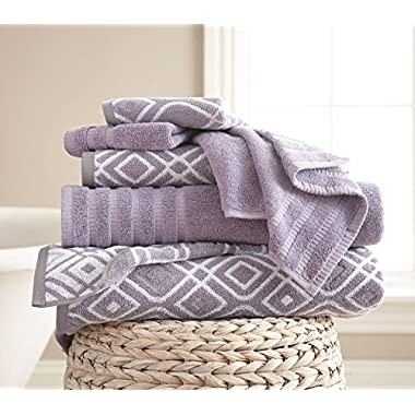 Amrapur Overseas 6-Piece Yarn Dyed Oxford Stripe Jacquard/Solid Ultra Soft 500GSM 100% Combed Cotton Towel Set [Grey Lavender]